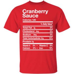 Cranberry Sauce Nutrition Facts Thanksgiving Shirt