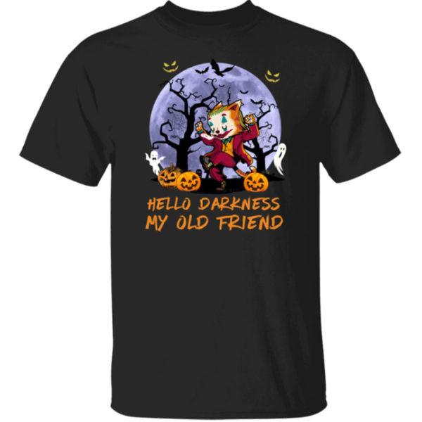 Joker Cat Hello Darkness My Old Friend Halloween Shirt