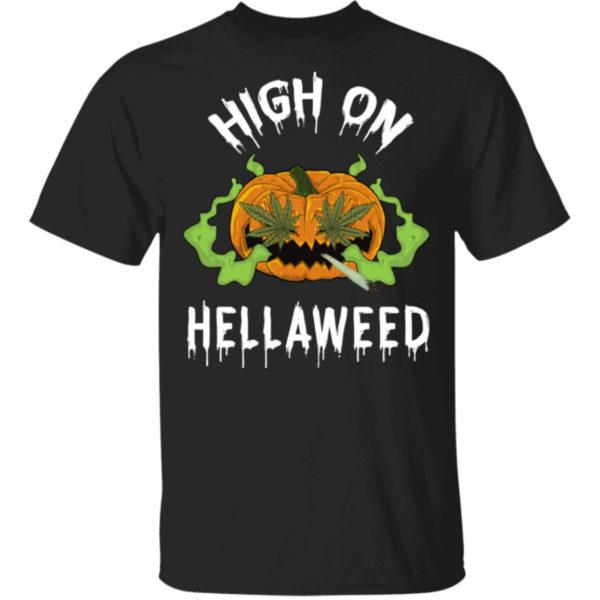 Pumpkin Weed High On Hellaweed Shirt