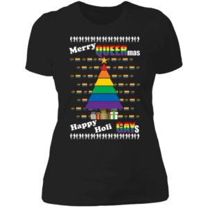 Merry Queer Mas Happy Holi Gays Christmas Ladies Boyfriend Shirt